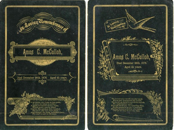 Amos McCulloh Funeral Cards