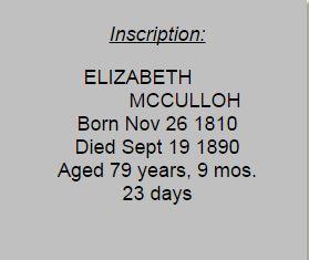 Elizabeth McCulloh tombstone inscription