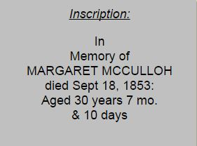 Margaret D McCulloh tombstone inscription