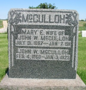 Mary E wife of John W. McCulloh