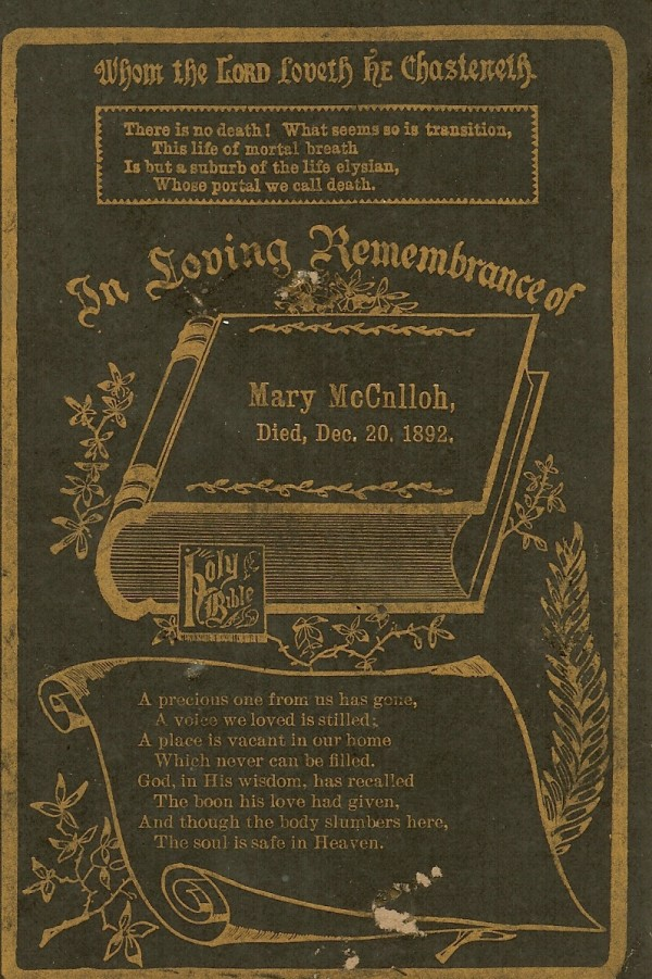 Mary's Funeral Card