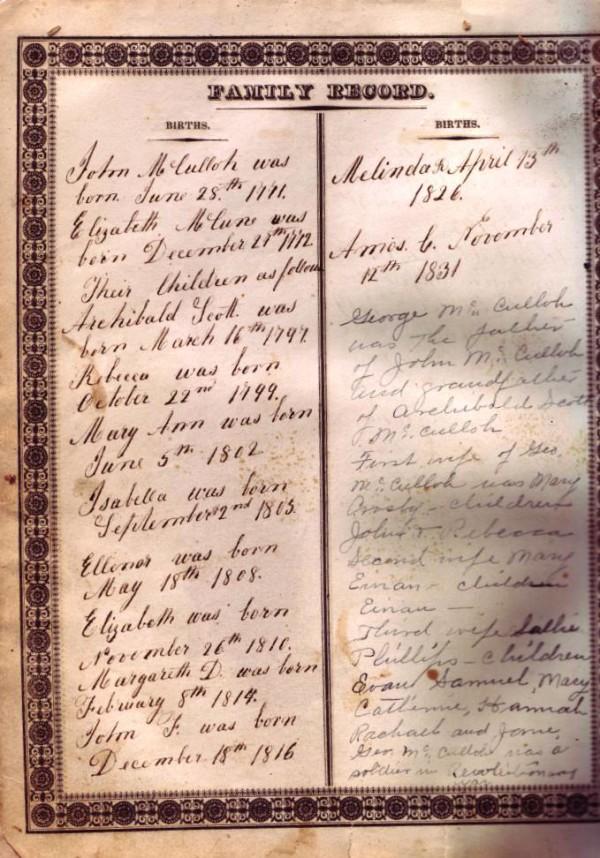 Mary Ann Mcculloh Lewis Bible