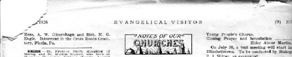 W E McCulloh Obituary in the Evangelical Visitor