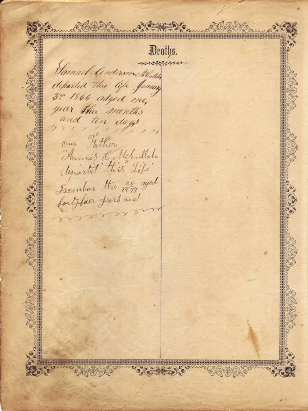 Amos Crosby McCulloh - Bible - Deaths