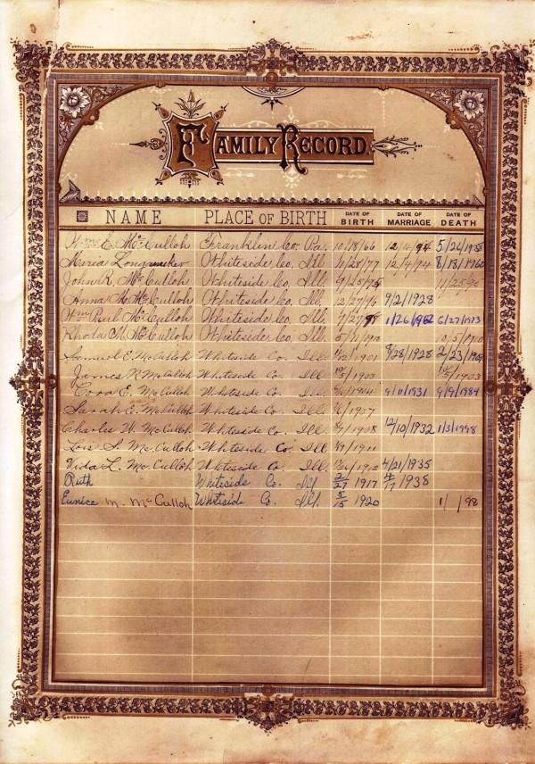 W E McCulloh Bible - William and Maria Family Records