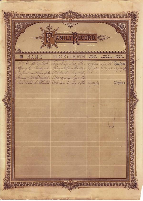 W E McCulloh Bible - William and Mary Family Records